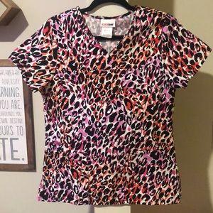 Leopard print XS scrub top, like new